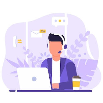Servizio clienti, operatore uomo seduto al tavolo con un computer portatile, con cuffie e un microfono, intorno alle icone elementi di supporto, caffè e fiori.