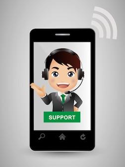 Servizio clienti in smartphone