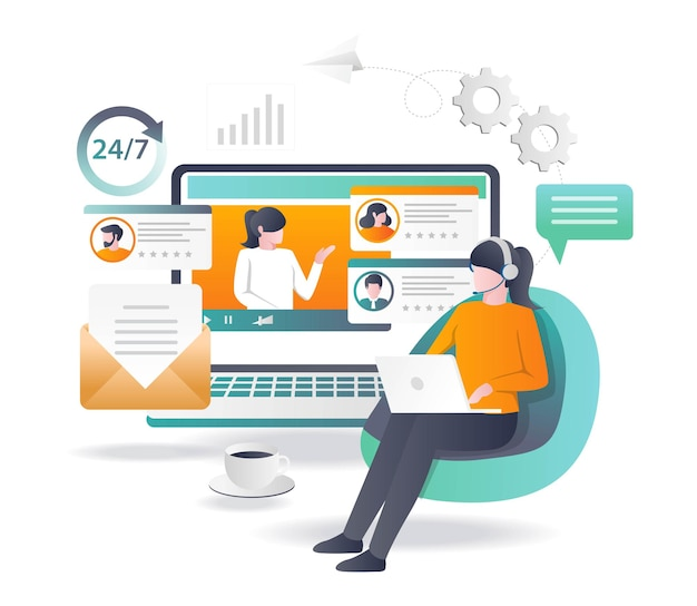Assistenza clienti 24 ore in design piatto