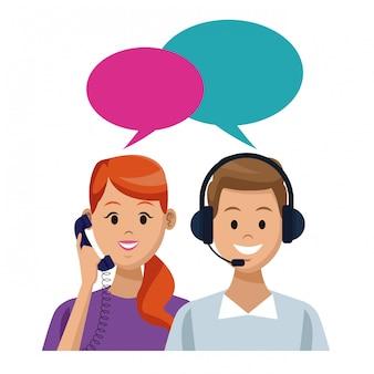 Concetto di call center di assistenza clienti e supporto