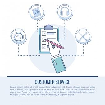 Servizio clienti e supporto concetto infografica