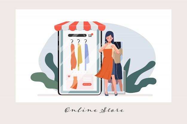 Cliente che acquista online. negozio online e shopping mobile.