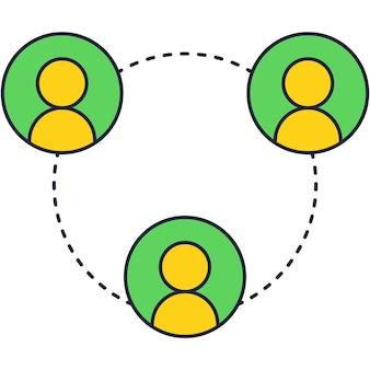 Icona piana di avatar di persone di social network del cliente