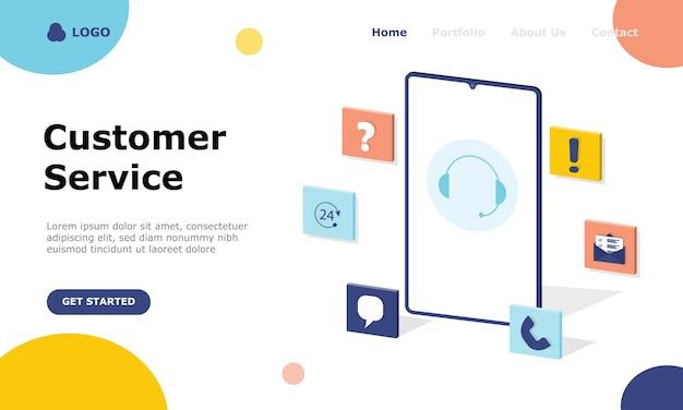 Pagina di destinazione del concetto di illustrazione del servizio clienti e consulenza ai clienti