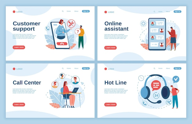 Assistenza clienti operatori di call center che consultano la pagina di destinazione dei clienti