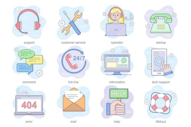 Le icone piatte del concetto di assistenza clienti impostano un pacchetto di errori di informazioni sulla hotline dei commenti di avvio dell'operatore...