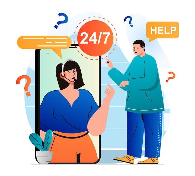 Concetto di assistenza clienti in un moderno design piatto l'uomo ha bisogno di aiuto e ha contattato il call center