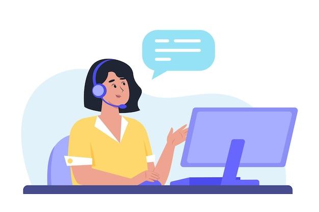 Personale del dipartimento di assistenza clienti che aiuta un cliente tramite chiamata alla linea diretta per risolvere un problema, spedizioniere