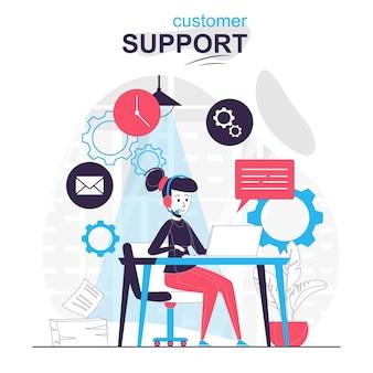 Concetto di fumetto isolato dell'assistenza clienti supporto tecnico della hotline dell'operatore di call center