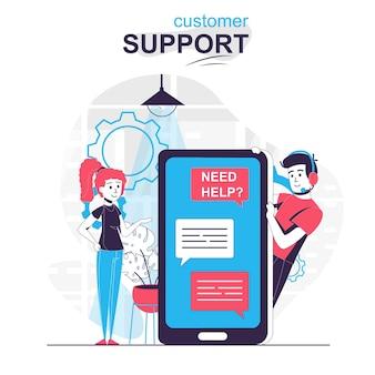 Concetto di fumetto isolato assistenza clienti la donna scrive chattando con l'operatore del supporto tecnico