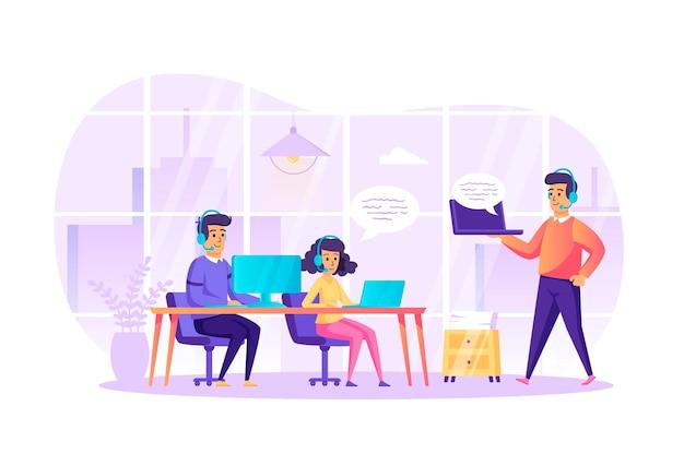 Assistenza clienti al concetto di design piatto ufficio con scena di personaggi di persone