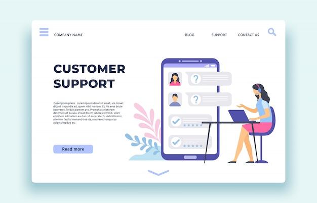 Servizio clienti. l'assistente personale, operatore del supporto tecnico aiuta i clienti nella chat sull'illustrazione della pagina di destinazione dello schermo dello smartphone
