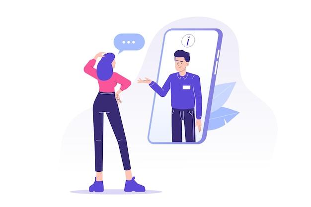 L'assistenza clienti con l'uomo del dipartimento di supporto consiglia il cliente sulla chat dal vivo