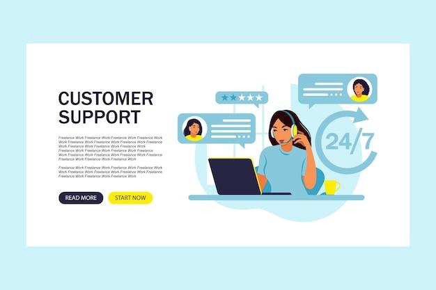 Servizio clienti. operatore hotline donna consiglia i clienti. supporto tecnico in linea. pagina di destinazione