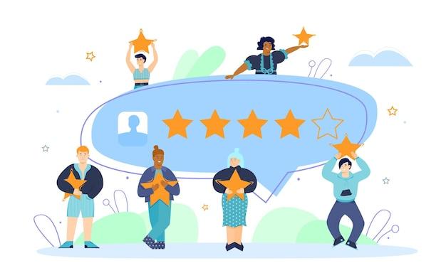 Concetto di feedback dei clienti con l'illustrazione piana di vettore della gente felice isolata