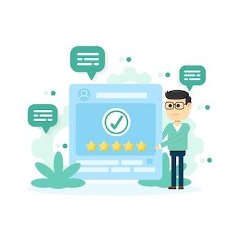Recensione dei clienti. feedback o concetto di valutazione