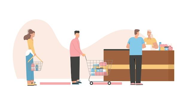 I clienti in fila mantengono le distanze sociali alla cassa, pagando gli acquisti di cibo.