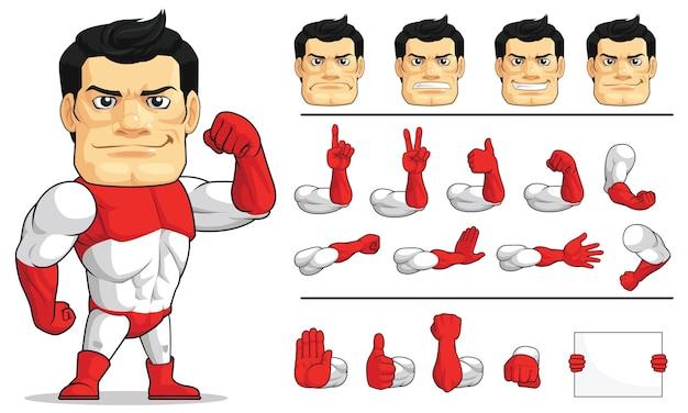 Mascotte personalizzabile super hero strong vigilante