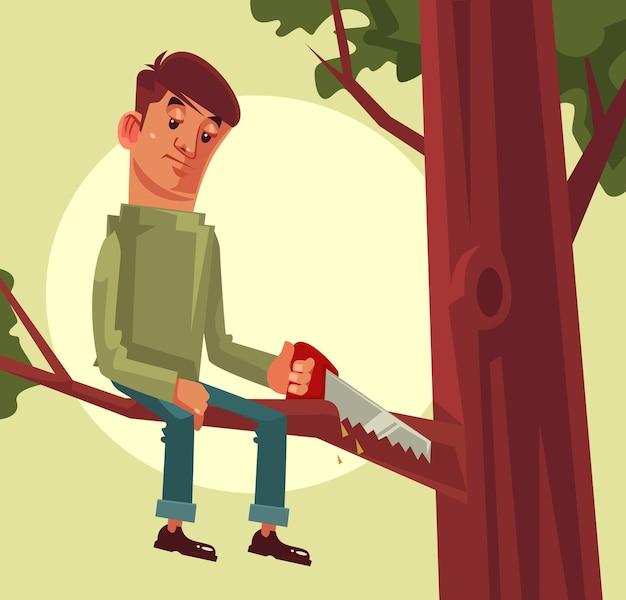 Non tagliare il ramo che stai seduto proverbio concetto