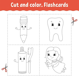 Taglia e colora. set di flashcard. libro da colorare per bambini. personaggio dei cartoni animati.