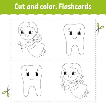Taglia e colora. set di flashcard. libro da colorare per bambini.