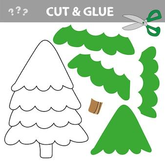 Taglia e incolla per creare un albero di natale verde. usa forbici e colla e ripristina l'immagine all'interno del contorno.