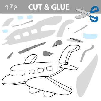 Taglia e incolla per creare l'immagine dell'aereo - trasporto aereo. gioco educativo per bambini.