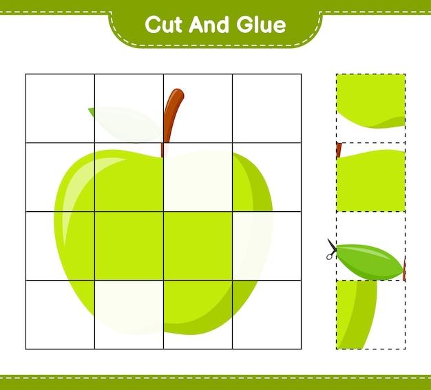 Taglia e incolla, taglia parti di mela e incollale. gioco educativo per bambini, foglio di lavoro stampabile