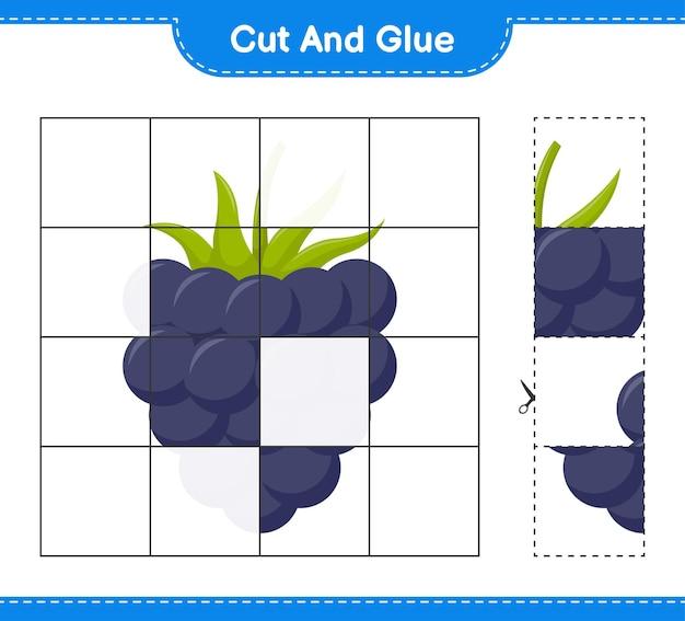 Tagliate e incollate, tagliate parti di more e incollatele. gioco educativo per bambini, foglio di lavoro stampabile