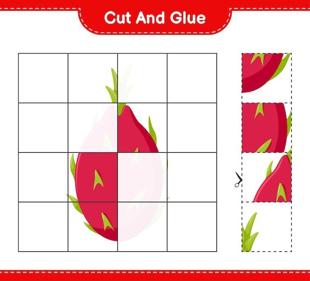 Taglia e incolla, taglia parti di dragon fruit e incollale. gioco educativo per bambini, foglio di lavoro stampabile
