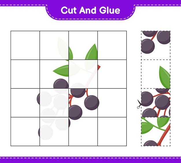 Tagliate e incollate, tagliate parti di sambuco e incollatele. gioco educativo per bambini, foglio di lavoro stampabile