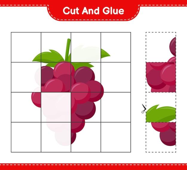 Tagliate e incollate, tagliate parti di uva e incollatele. gioco educativo per bambini, foglio di lavoro stampabile