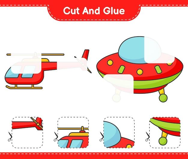 Taglia e incolla parti tagliate di elicottero e ufo e incollale gioco educativo per bambini