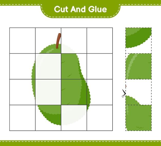 Taglia e incolla, taglia parti di jackfruit e incollale. gioco educativo per bambini, foglio di lavoro stampabile