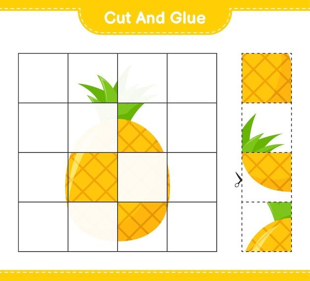 Tagliate e incollate, tagliate parti di ananas e incollatele. gioco educativo per bambini, foglio di lavoro stampabile