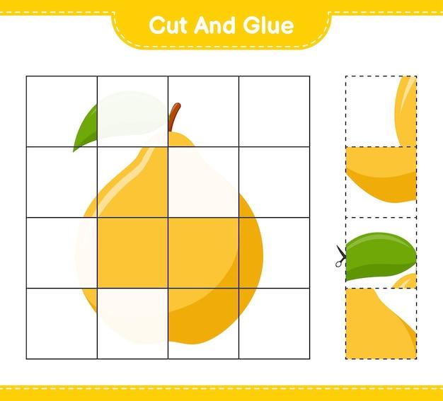 Tagliate e incollate, tagliate delle parti di mela cotogna e incollatele. gioco educativo per bambini, foglio di lavoro stampabile