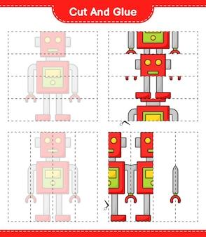 Taglia e incolla parti tagliate di robot character e incollale gioco educativo per bambini Vettore Premium