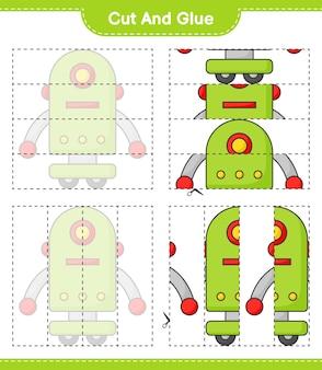 Taglia e incolla parti tagliate di robot character e incollale gioco educativo per bambini