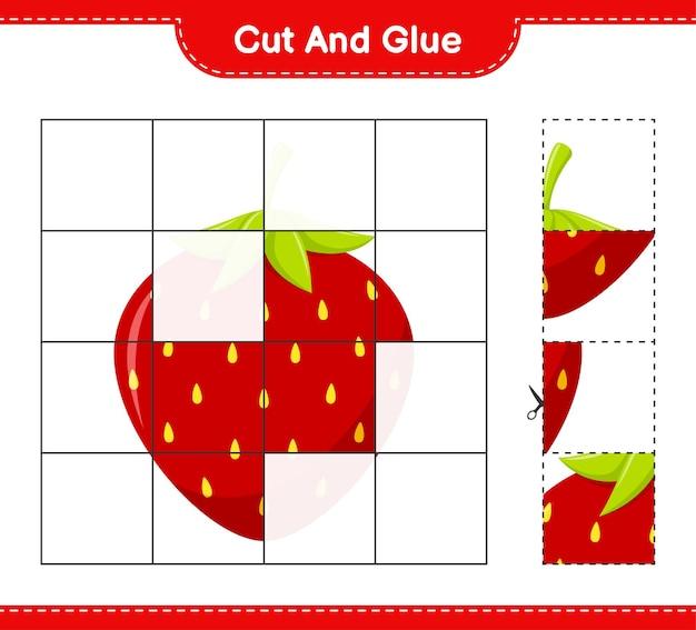 Tagliate e incollate, tagliate parti di fragola e incollatele. gioco educativo per bambini, foglio di lavoro stampabile