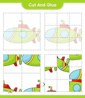 Taglia e incolla parti tagliate del sottomarino e incollale foglio di lavoro stampabile per giochi educativi per bambini