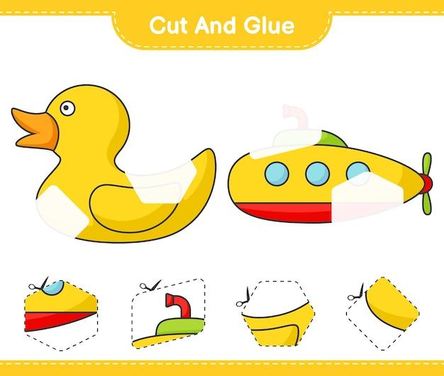 Taglia e incolla parti tagliate di sottomarino e paperella di gomma e incollale gioco educativo per bambini