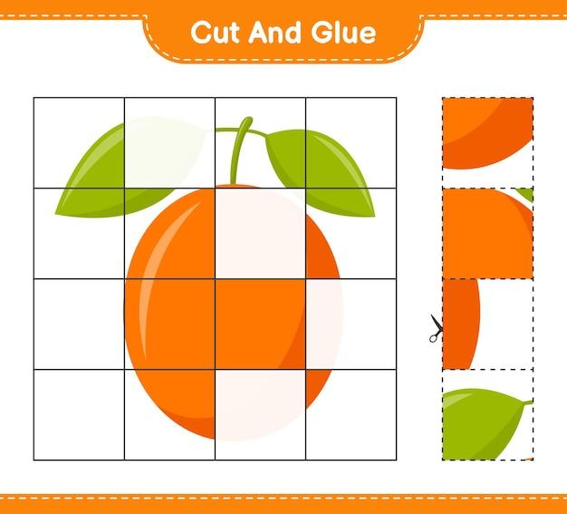Taglia e incolla, taglia parti di ximenia e incollale. gioco educativo per bambini, foglio di lavoro stampabile