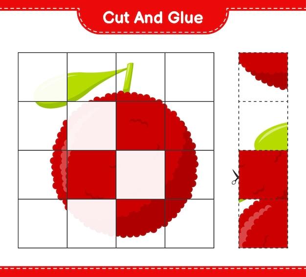 Tagliate e incollate, tagliate parti di yumberry e incollatele. gioco educativo per bambini, foglio di lavoro stampabile