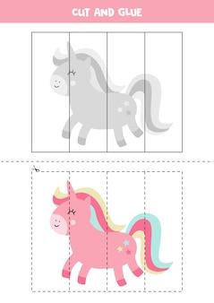 Taglia e incolla l'unicorno rosa simpatico cartone animato. gioco educativo per bambini. imparare a tagliare. puzzle per bambini.