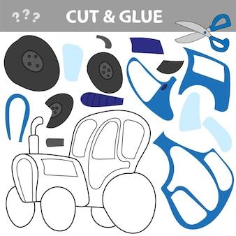 Taglia e incolla - un gioco educativo per bambini. trattore blu. taglia e incolla