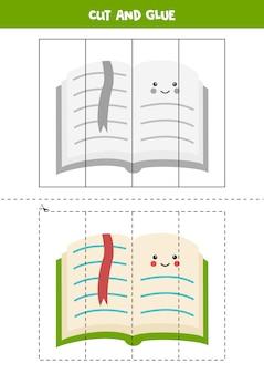 Taglia e incolla gioco per bambini. libro verde carino. Vettore Premium