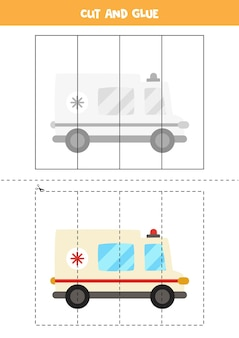 Taglia e incolla gioco per bambini con auto ambulanza dei cartoni animati. pratica di taglio per bambini in età prescolare.
