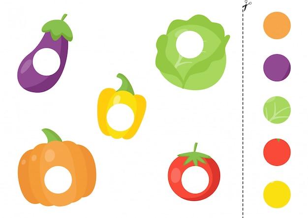 Gioco taglia e incolla per bambini con verdure a fumetti