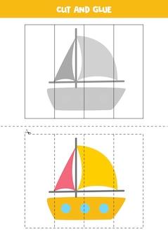 Taglia e incolla gioco per bambini con yacht dei cartoni animati. pratica di taglio per bambini in età prescolare.