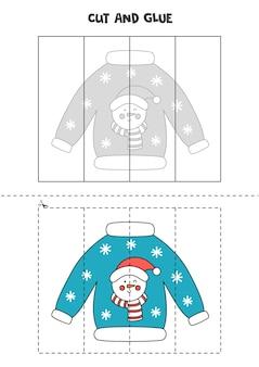Taglia e incolla gioco per bambini con brutto maglione natalizio. pratica di taglio per bambini in età prescolare.